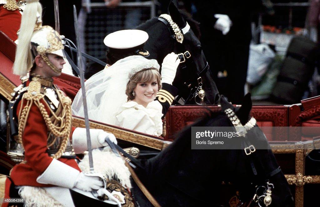 Royal Wedding. Photo Of Diana Princess of Wales taken by Boris Spremo July 29, 1981.