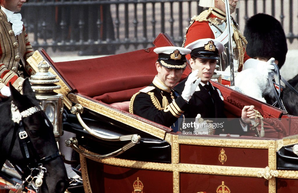 Royal Wedding. Photo of Prince Charles and Prince Andrew taken by Boris Spremo July 29, 1981.