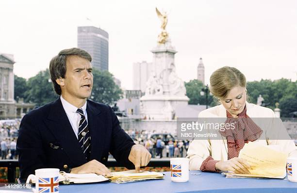 TODAY 'Royal Wedding Prince Charles Diana Spencer' Pictured NBC News' Tom Brokaw Jane Pauley in front of The Victoria Memorial at Buckingham Palace...