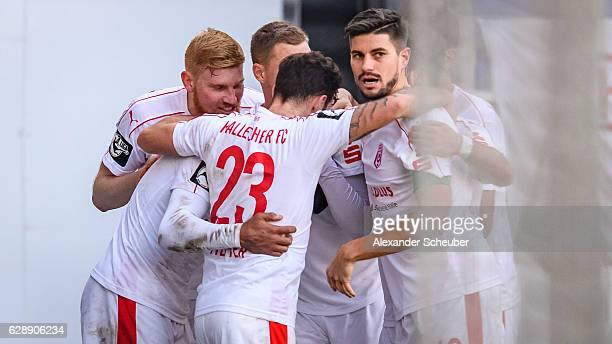 RoyalDominique Fennell of Halle celebrates the first goal for his team during the Third Bundesliga match between Wehen Wiesbaden and Hallescher FC at...