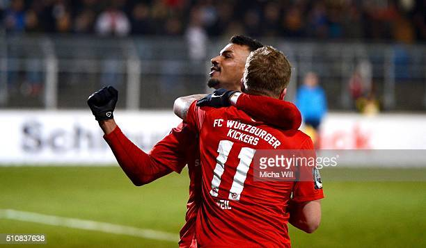 RoyalDominique Fennell of Wuerzburg celebrates with Richard Weil of Wuerzburg after scoring his team's third goal during the Third League match...