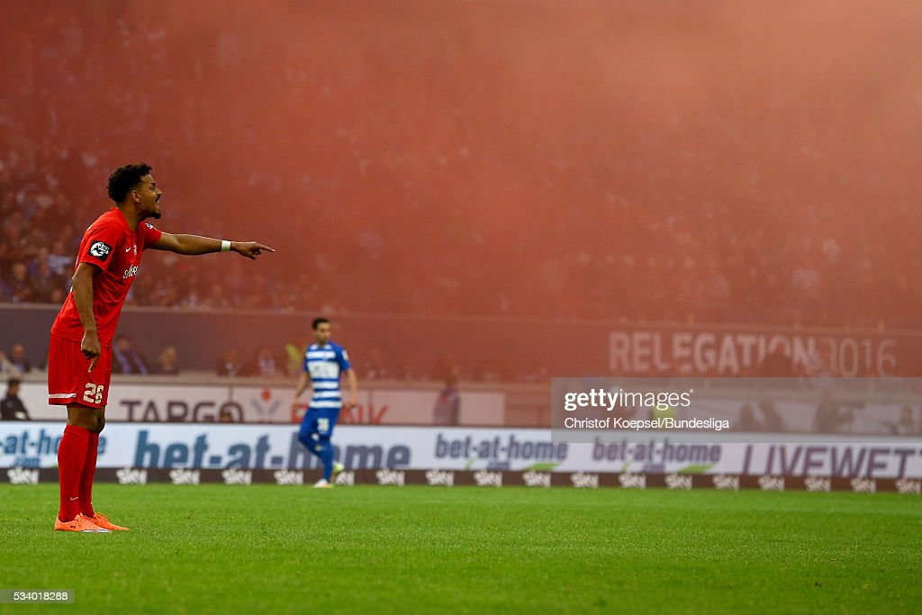 Royal-Dominique Fennell of Wuerzburg gestures during the Second Bundesliga play-off second leg match between MSV Duisburg and Wuerzburger Kickers at Schauinsland-Reisen-Arena on May 24, 2016 in Duisburg, Germany.