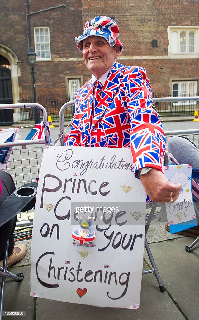 Royalist Terry Hutt poses outside St James' Palace ahead of the christening of HRH Prince George of Cambridge on October 23, 2013 in London, England.