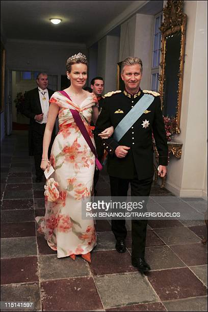 Royals arriving at the dinner offered to Prince Frederik and Mary Donaldson for their wedding in Copenhagen Denmark on May 14 2004 Princess Mathilde...
