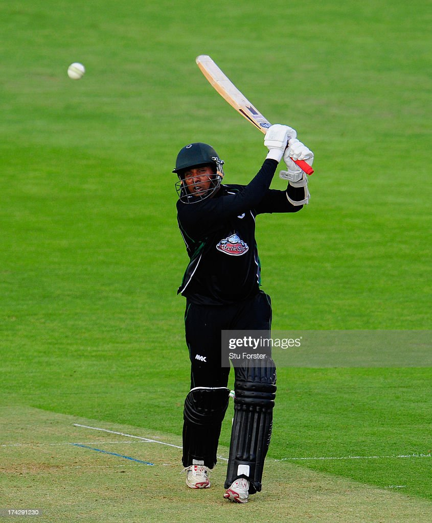 Royals batsman Thilan Samaraweera hits out during the Friends Life T20 match between Glamorgan Dragons and Worcestershire Royals at SWALEC Stadium on...