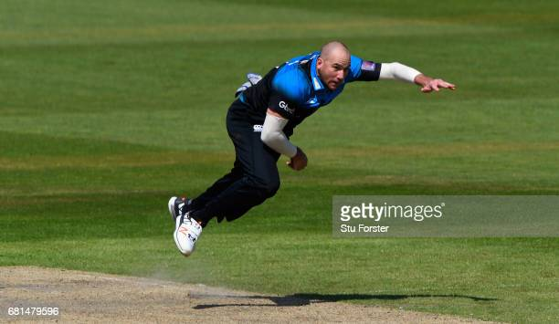 Royals bowler John Hastings in action during the Royal London One Day Cup match between Lancashire Lightening and Worcestershire Rapids at Old...