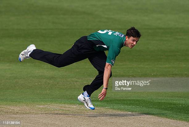 Royals bowler Richard Jones in action during the Clydesdale Bank 40 match between Worcestershire Royals and Middlesex Panthers at New Road on April...