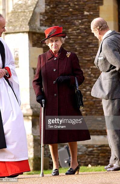Royals Gather For A Family Christmas At Sandringham And Attend The Traditional Church Service Queen Elizabeth II Uses A Walking Stick Following An...
