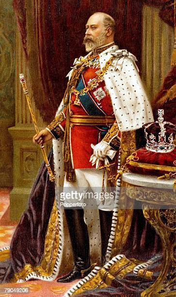 Royalty A portrait of his Royal Highness King Edward VII of England in his full coronation robes