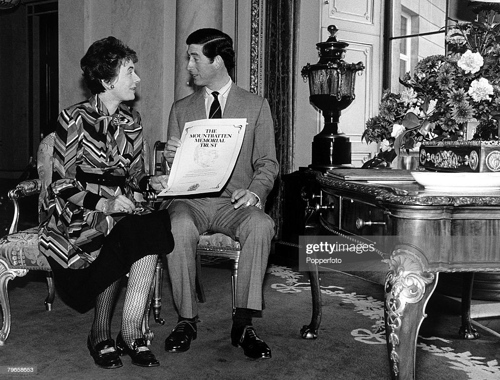 Royalty, England, 26th March 1980, Prince Charles and Lady Patricia Bradbourne, one of the daughters of murdered Lord Louis Mountbatten, pose for the press at Buckingham Palace for the launch of 'The Mountbatten Memorial Trust Fund'
