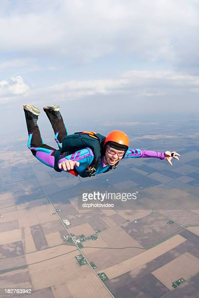 Royalty Free Stock Photo: Happy Woman Skydiving