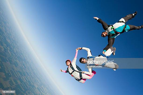 Royalty Free Stock Photo: Three Skydivers in Freefall