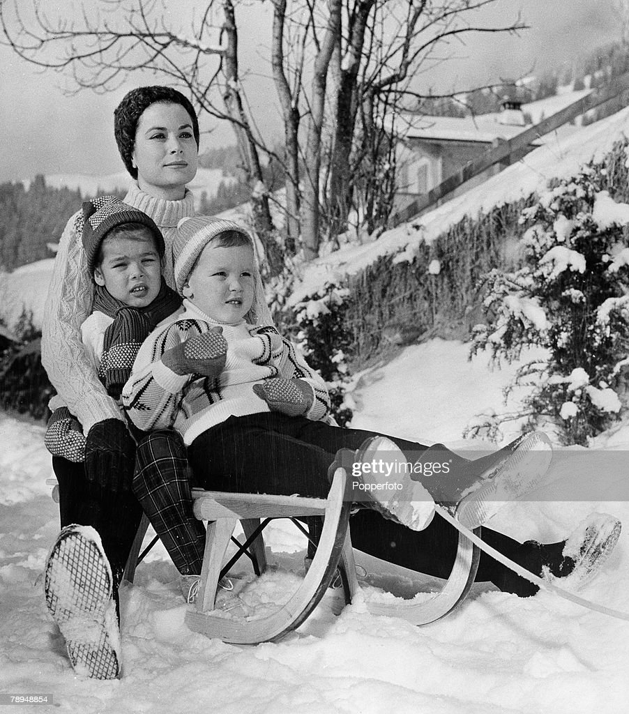 Royalty Gstaad Switzerland 7th February 1962 Princess Grace of Monaco with her children Princess Caroline aged 5 Prince Albert aged 3 years sit...