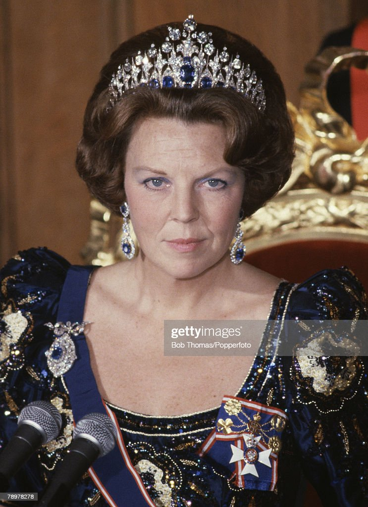 Royalty Guildhall London England November 1982 Queen Beatrice of the Netherlands attending a banquet during her State visit to Britain