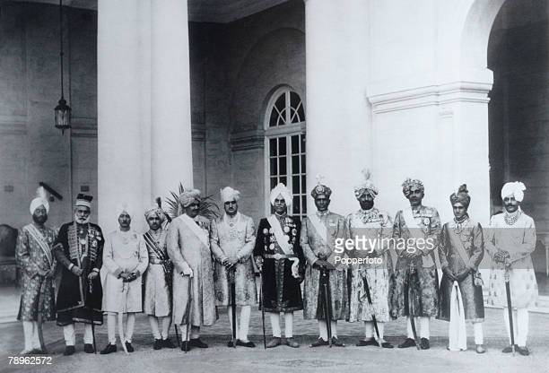 Royalty India Circa 1920's A photograph taken at the Silver Jubilee of Maharaja Jagatjit Singh of Kapurthala From the left the rulers of Kalsia...