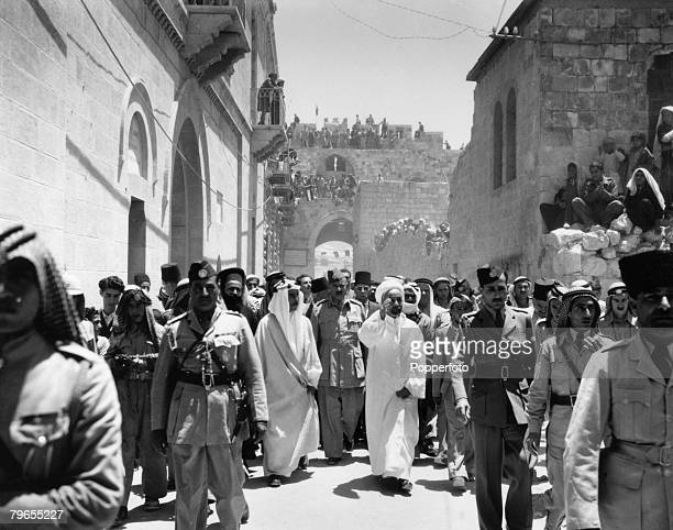 Royalty Jerusalem July 1948 King Abdullah I of Jordan waves to crowds as he is escorted to a Mosque to pray