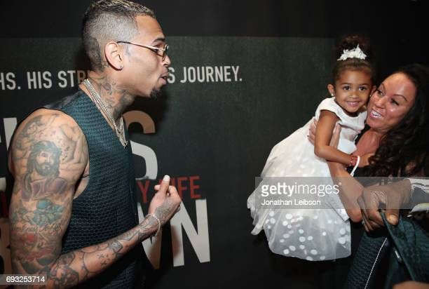Royalty Joyce Hawkins and Chris Brown attend the Premiere Of Riveting Entertainment's 'Chris Brown Welcome To My Life' at LA LIVE on June 6 2017 in...