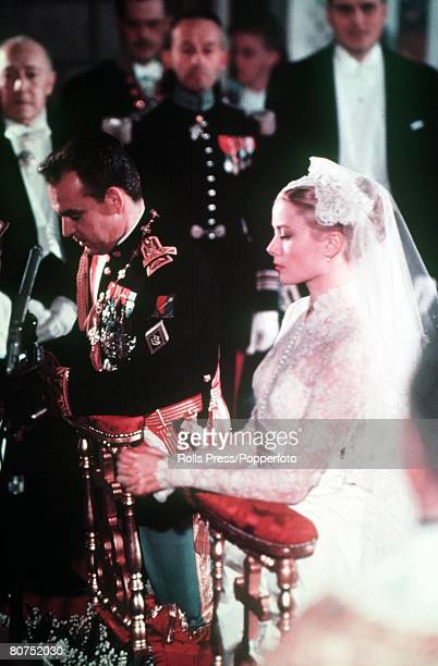 Royalty Monte Carlo Monaco 19th April 1956 Prince Rainier of Monaco and Grace Kelly pictured during their wedding service