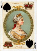 Royalty Playing Cards produced circa 1897 Illustration shows Queen Charlotte wife of King George III circa 1780
