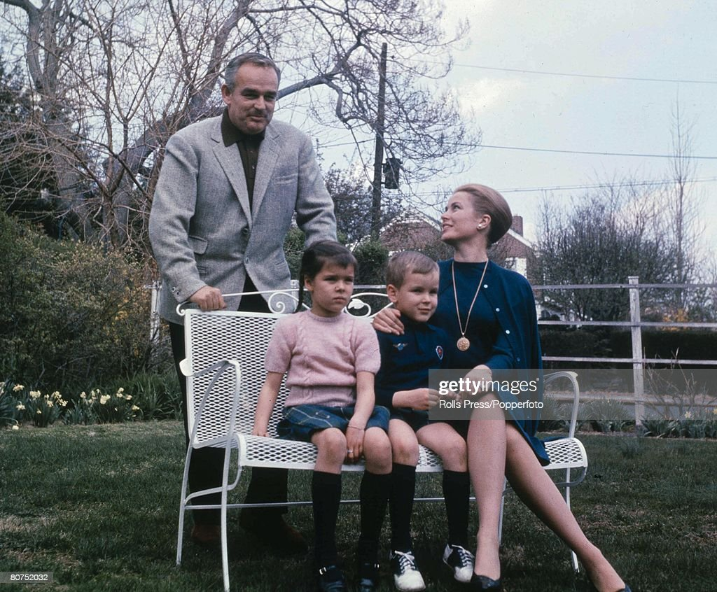 Royalty, Prince Rainier of Monaco with his wife Princess Grace and their two children Caroline and Albert, circa 1965.