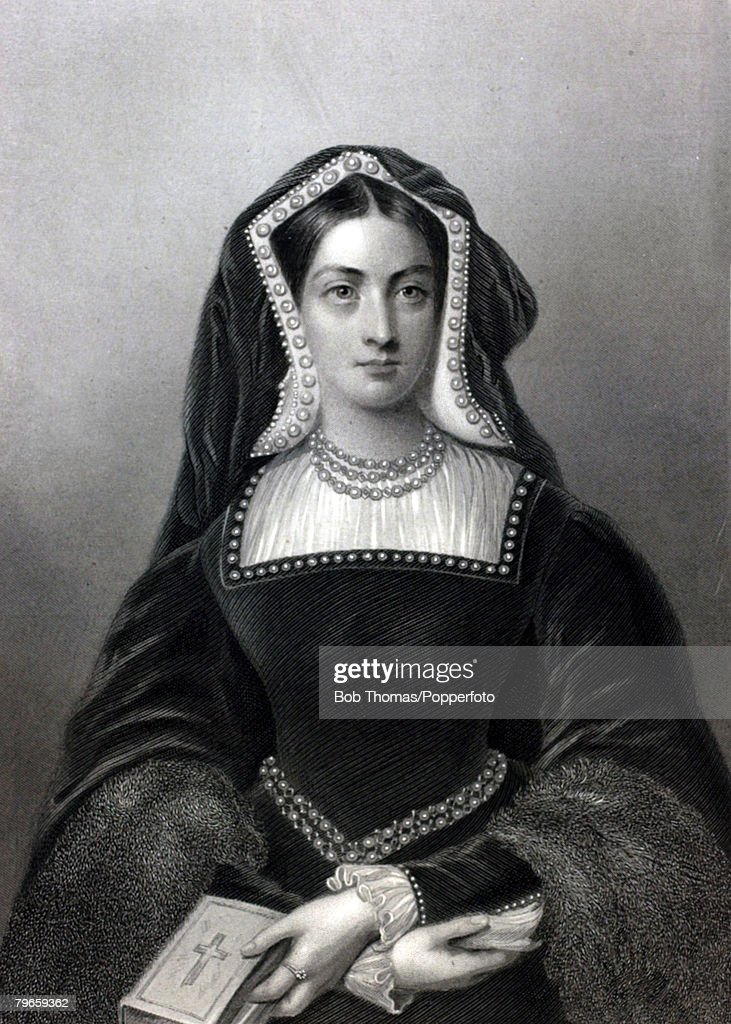 Royalty, Queens and Consorts of England, Illustration, <a gi-track='captionPersonalityLinkClicked' href=/galleries/search?phrase=Catherine+of+Aragon&family=editorial&specificpeople=216175 ng-click='$event.stopPropagation()'>Catherine of Aragon</a>, (1485-1536) the 1st Queen of King Henry VII, Spainish born, she married Henry VIII in 1509 but having failed to provide a male son she fell from favour and Henry engineered Anne Boleyn to replace her
