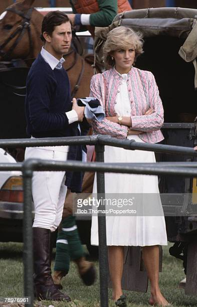 Royalty Windsor England June 1983 Prince Charles with his wife Princess Diana attending a Polo match