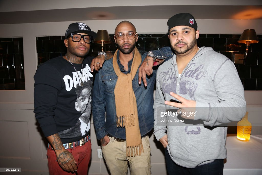 Royce da 5'9, Joe Budden and Joell Ortiz attend Joe Budden's 'No Love Lost' album release dinner at Abe & Arthur's on February 5, 2013 in New York City.