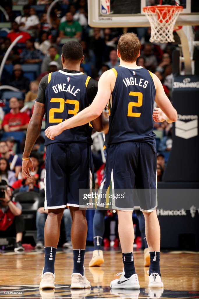 Royce O'Neale #23 and Joe Ingles #2 of the Utah Jazz look on during the game against the New Orleans Pelicans on March 11, 2018 at the Smoothie King Center in New Orleans, Louisiana.