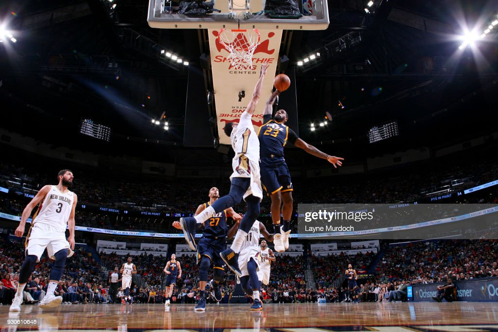 Royce O'Neale #23 of the Utah Jazz dunks the ball during the game against the New Orleans Pelicans on March 11, 2018 at the Smoothie King Center in New Orleans, Louisiana.