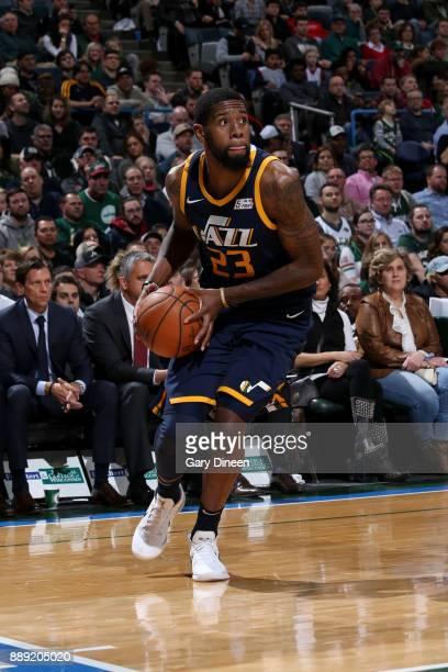 Royce O'Neale of the Utah Jazz handles the ball against the Milwaukee Bucks on December 9 2017 at the BMO Harris Bradley Center in Milwaukee...