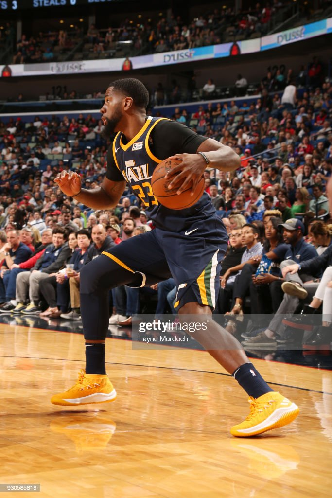 Royce O'Neale #23 of the Utah Jazz handles the ball during the game against the New Orleans Pelicans on March 11, 2018 at the Smoothie King Center in New Orleans, Louisiana.