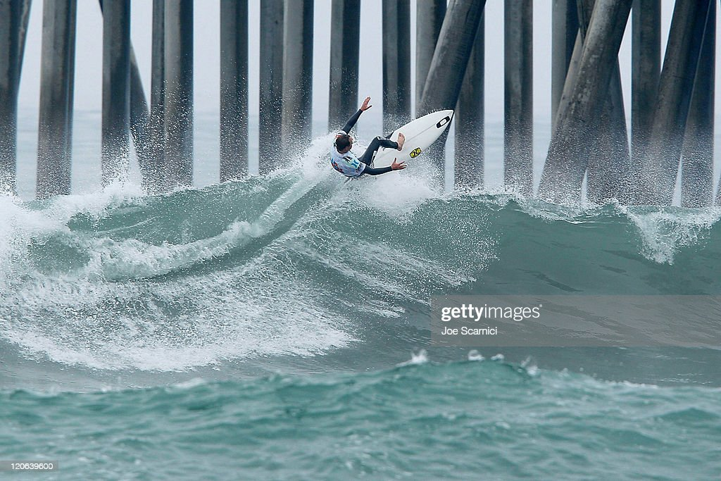 Royden Bryson of South Africa surfing in the quarter final against Yadin Nicol of Australia at the Nike US Open of Surfing on August 7 2011 in...