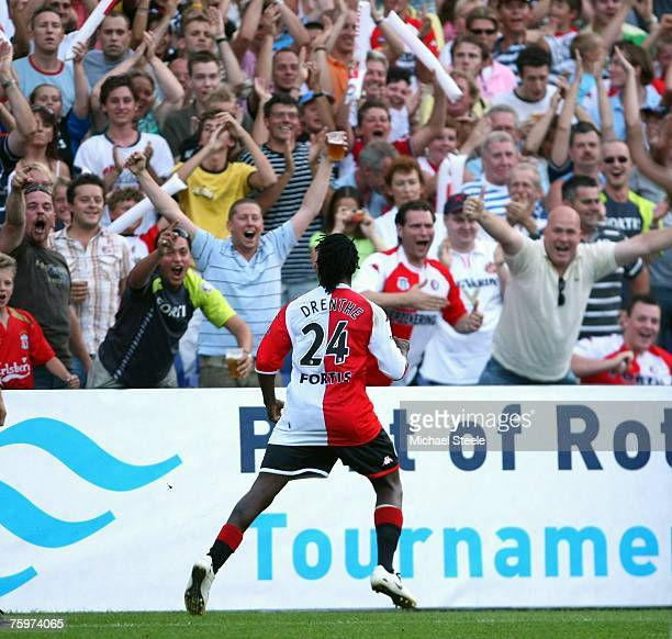 Royston Drenthe of Feyenoord celebrates his goal during the Port of Rotterdam Tournament match between Feyenoord and Liverpool at the De Kuip Stadium...