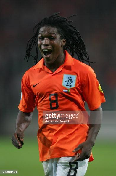 Royston Drenthe of the Netherlands celebrates victory during the UEFA U21 Championship group A match between Netherlands U21 and Portugal U21 at the...