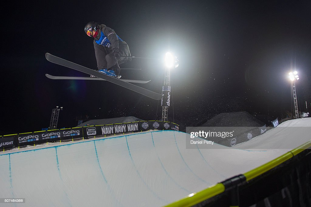 Roz Groenewoud of Canada catches air during the second run of the women's ski halfpipe at Winter X Games 2016 Aspen at Buttermilk Mountain on January 29, 2016, in Aspen, Colorado. Groenewoud finished sixth overall.