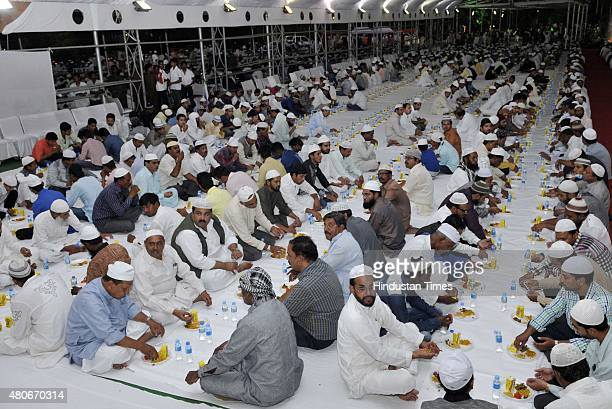 Roza iftar programme at the residence of Chief Minister Shivraj Singh Chouhan during the holy month of Ramadan on July 14 2015 in Bhopal India...