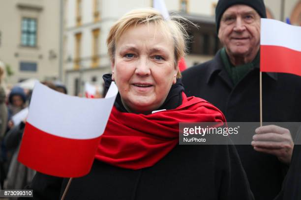 MEP Roza Maria Grafin von Thun und Hohenstein during the celebration of the Polish Independence Day organised by KOD Krakow Poland on 11 November 2017