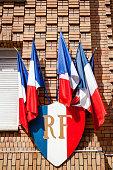 RF sign with french bleu white red flags (République Française)