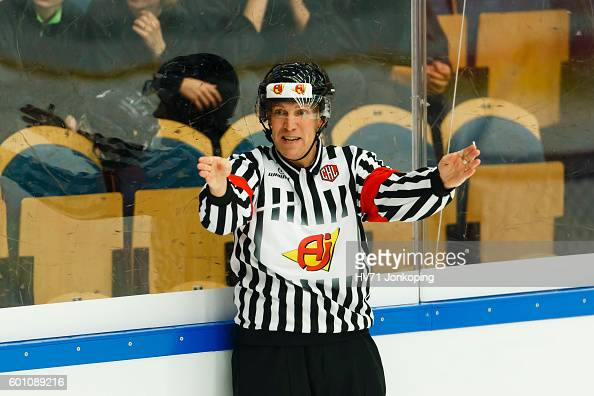 Rreferee Morgan Andersson during the Champions Hockey League match between HV71 Jonkoping and Red Bull Salzburg at Kinnarps Arena on September 9 2016...