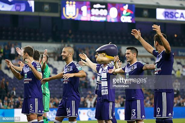 Rsc Anderlecht celebrates pictured during Croky Cup match between RSC Anderlecht and OHL on September 21 2016 in Brussels Belgium