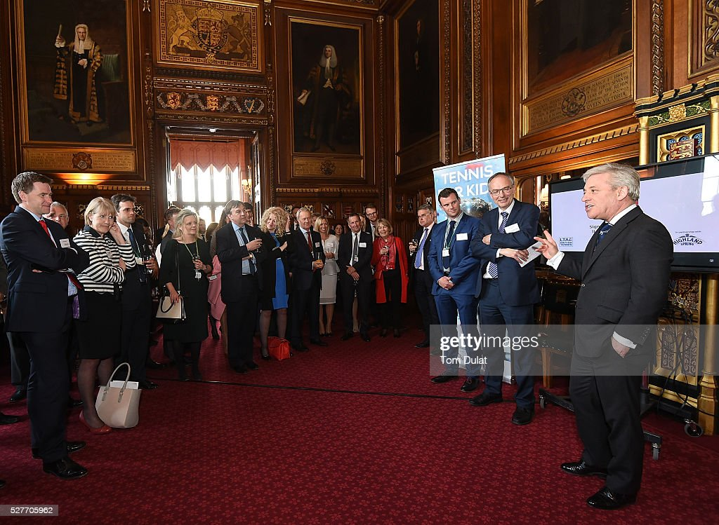 Rt Hon <a gi-track='captionPersonalityLinkClicked' href=/galleries/search?phrase=John+Bercow&family=editorial&specificpeople=2486681 ng-click='$event.stopPropagation()'>John Bercow</a> MP speaks to guests during the Davis Cup Parliamentary Reception at Houses of Parliament on May 3, 2016 in London, England.