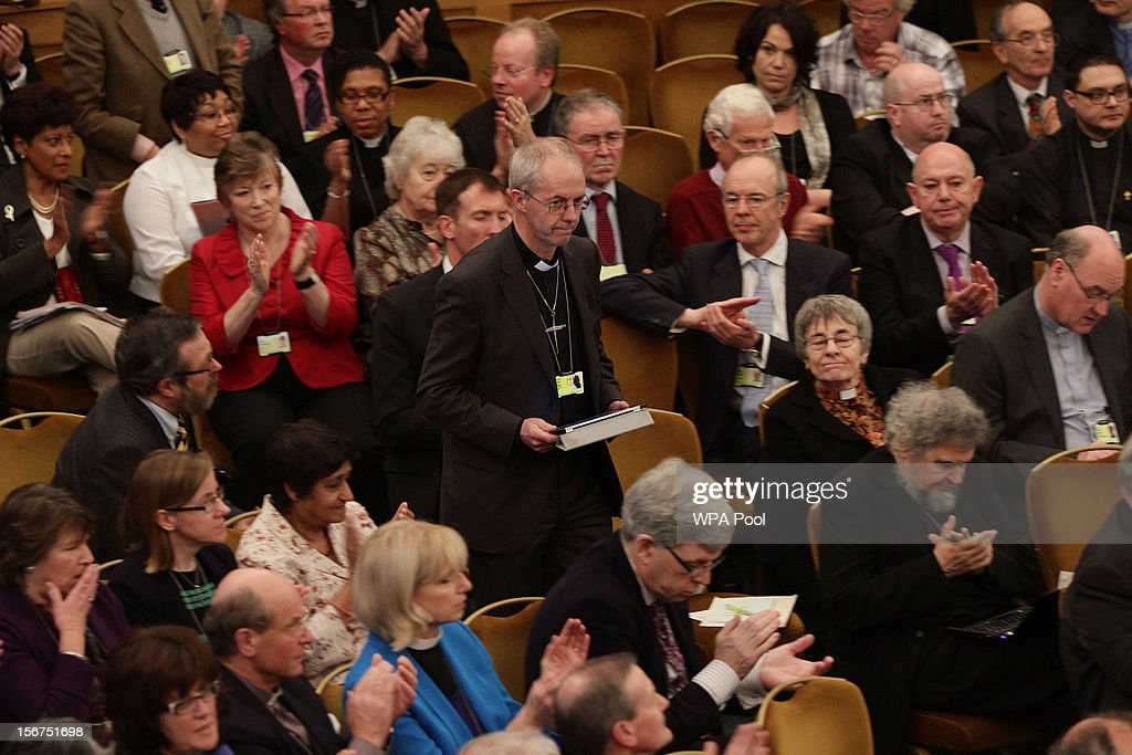 Rt Rev Justin Welby, the incoming Archbishop of Canterbury is applauded after speaking during a meeting of the General Synod of the Church of England on November 20, 2012 in London, England. The Church of England's governing body, known as the General Synod, will later today vote on whether to allow women to become bishops.