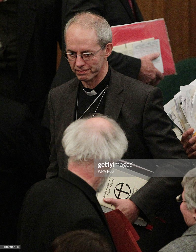 Rt Rev Justin Welby, the incoming Archbishop of Canterbury (top) with Dr Rowan Williams, the outgoing Archbishop of Canterbury (back to camera), after draft legislation introducing the first women bishops in the Church of England failed to receive final approval from the Church of England General Synod on November 20, 2012 in London, England. The Church of England's governing body, known as the General Synod, voted on whether to allow women to become bishops.