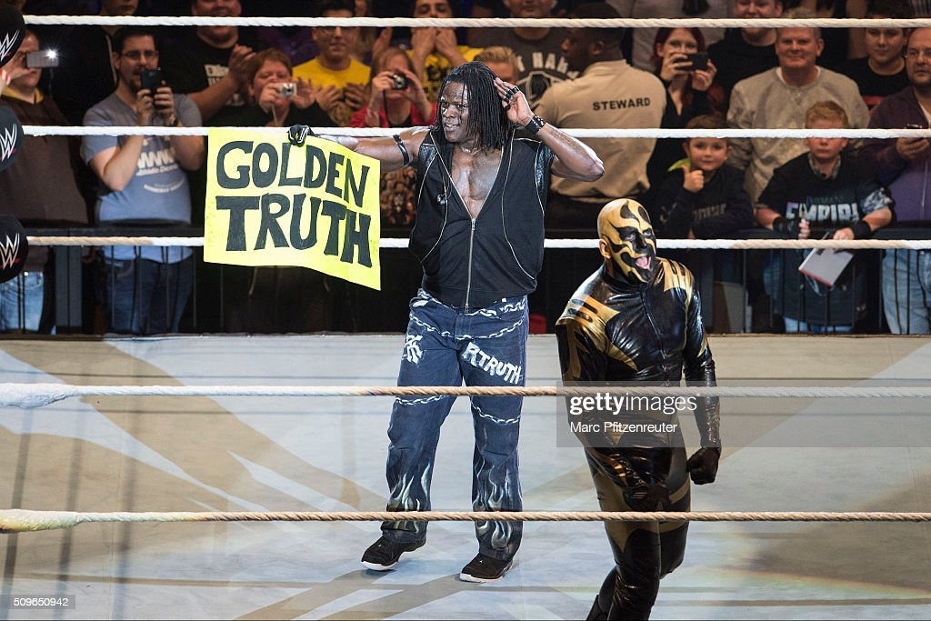 R-Truth competes in the ring against Goldust at the Road to WrestleMania at the Lanxess Arena on February 11, 2016 in Cologne, Germany.