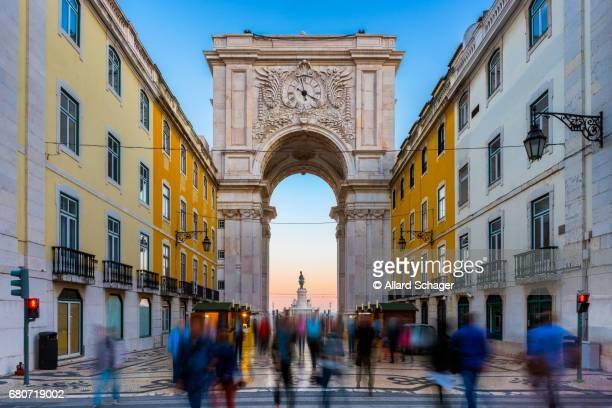 Rua Augusta Arch in Lisbon Portugal around Sunset