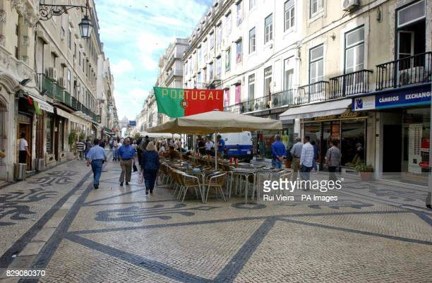 Rua Augusta off Rossio Square in Lisbon where a British man was stabbed to death at around 4 am after England's victory over Croatia in the Euro 2004...