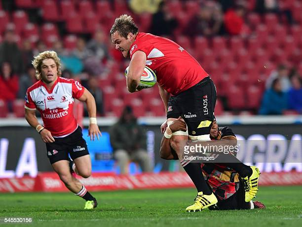 Ruan Ackermann of Lions during the Super Rugby match between Emirates Lions and Southern Kings at Emirates Airline Park on July 08 2016 in...