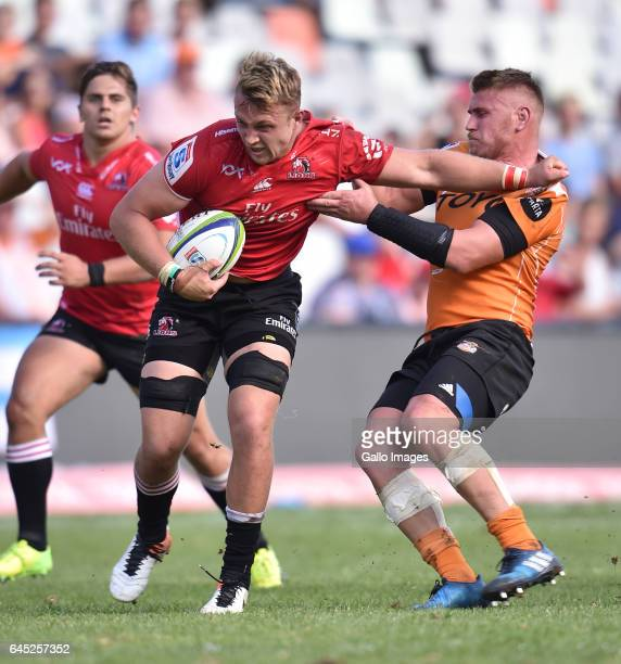 Ruan Ackermann of the Lions and Paul Schoeman of the Cheetahs during the Super Rugby match between Toyota Cheetahs and Emirates Lions at Toyota...