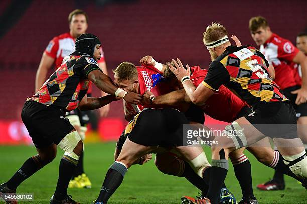 Ruan Ackermann of the Lions during the Super Rugby match between Emirates Lions and Southern Kings at Emirates Airline Park on July 08 2016 in...