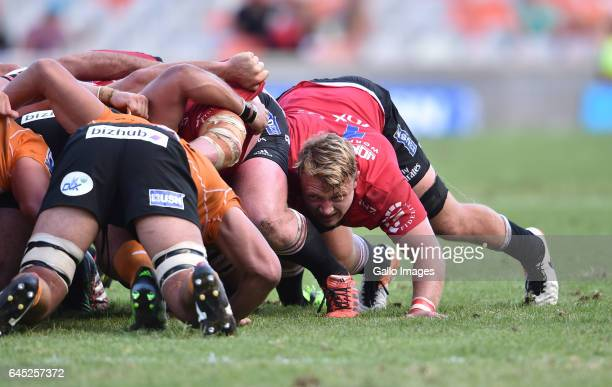 Ruan Ackermann of the Lions during the Super Rugby match between Toyota Cheetahs and Emirates Lions at Toyota Stadium on February 25 2017 in...
